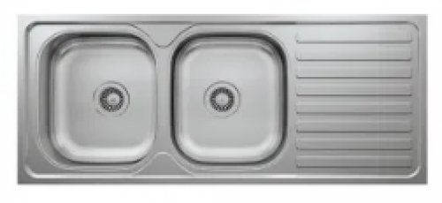 May Stainless Kitchen Sink Double Bowl, Single Drain 1200 X 500mm With Waste And Bottle Trap-overlay