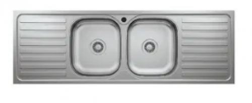 May Stainless Kitchen Sink Double Bowl Double Drain 1500 X 500mm With Waste And Bottle Trap-overlay