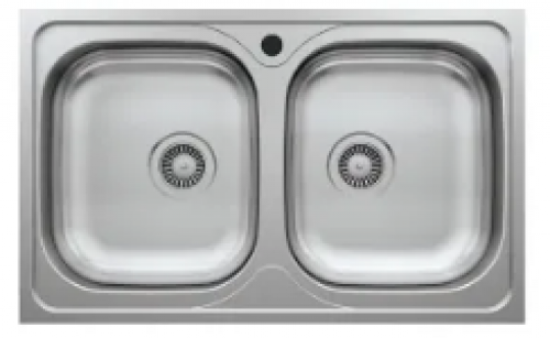 May Stainless Kitchen Sink Double Bowl (square) 800x500mm With Waste And Bottle Trap-overlay