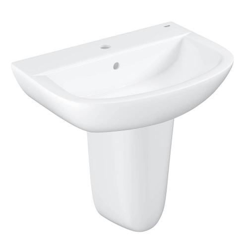 Bau Ceramic Washbasin Wall Hung 55cm And Semi Pedestal