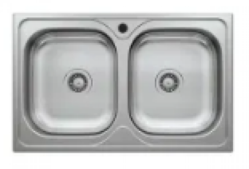 May Stainless Kitchen Sink Double Bowl (square) 780 X 440mm With Waste And Bottle Trap-cabinet