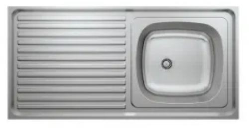May Stainless Kitchen Sink Single Bowl, Single Drain 900x500 With Waste And Bottle Trap-overlay