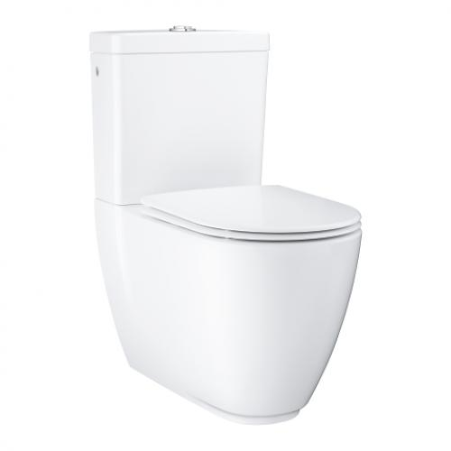Essence Wc Close Coupled Rimless Horizontal Outlet, Bottom Inlet With Soft Close Seat & Cover