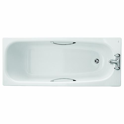 Neptune Bath, Enamelled Steel 1700x700mm, 2 Tap, Grips, Slip Resist, 195 Ltr