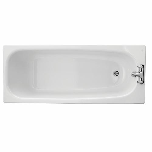 Luna Bath 1700x700mm, Enamelled Steel, 2 Centre Tap Holes, Slip Resistant